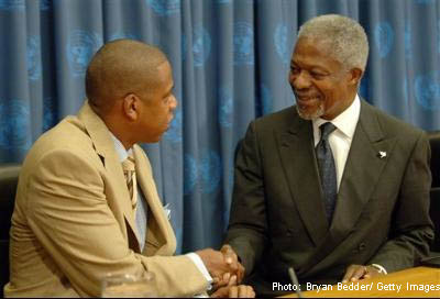 Rapper JayZ and UN Secretary General Kofi Annan