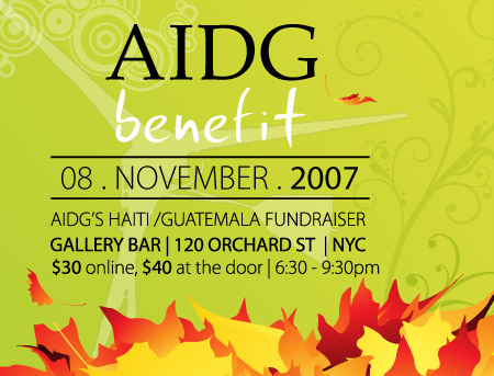 AIDG Benefit Nov 8- Gallery Bar NYC, 120 Orchard Street, NY - 6:30-9:30