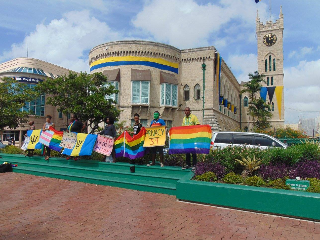 Barbados flash Stand for Equality outside Parliament