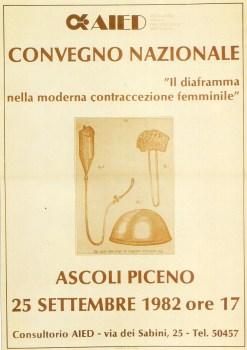 Il diaframma nella moderna contraccezione femminile. Ascoli Piceno, 25 settembre 1982.