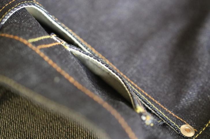 ジーンズのコインポケットの縫製