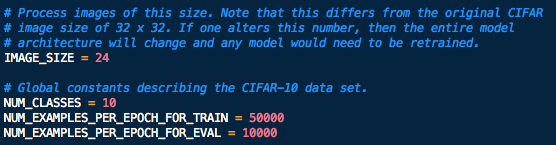 TensorFlow CIFAR-10: Global constants describing the CIFAR-10 data set
