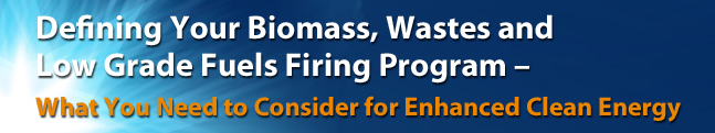 Defining Your Biomass, Wastes and Low Grade Fuels Firing Program - A Webinar