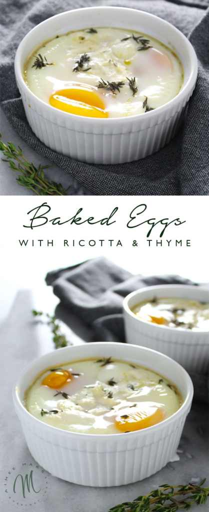 This recipe for Baked Eggs with Ricotta & Thyme is a nice change from traditional eggs. The rich flavor and creamy texture make a perfect breakfast.