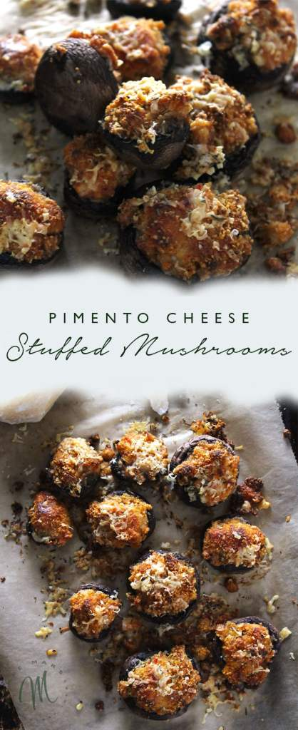 Pimento Cheese Stuffed Mushrooms are a unique take on stuffed mushrooms and are the perfect easy appetizer to prepare for guests | via aimeemars.com | #StuffedMushrooms #PimentoCheese #EasyAppetizer