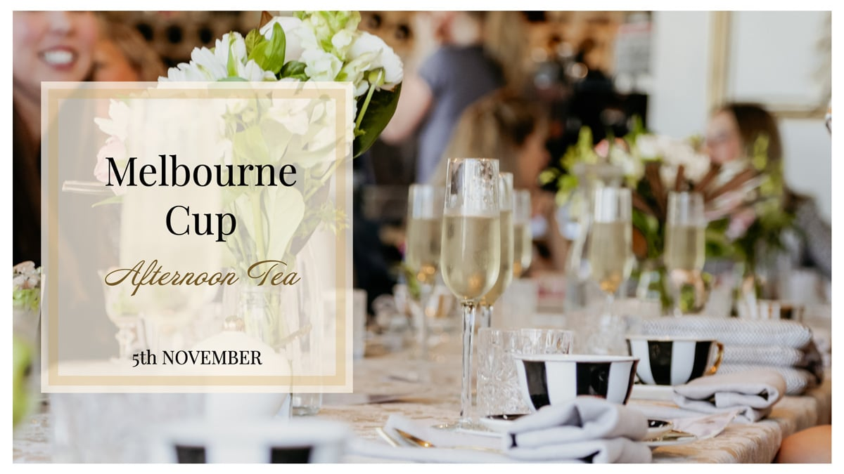 champagne and tea cups on a table for Melbourne cup