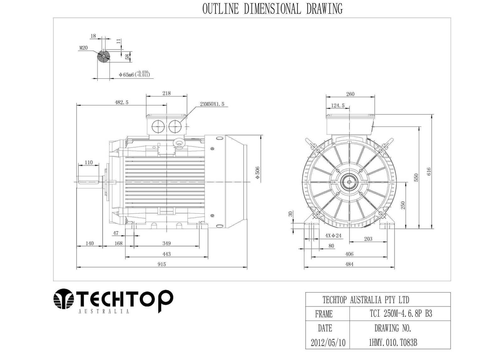 Techtop 37 Kw Motor 415v 3 Phase 6 Pole 980 Rpm Foot