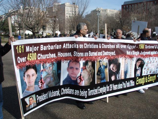 Demonstration von Auslandskopten gegen Angriffe auf Kopten