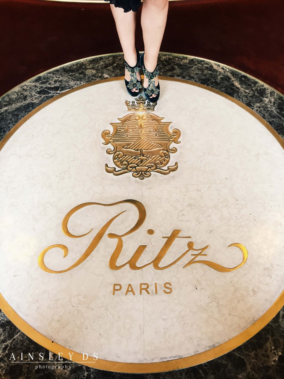 Entrance to the Ritz Paris. Couture shoes by Sidonie Larizzi
