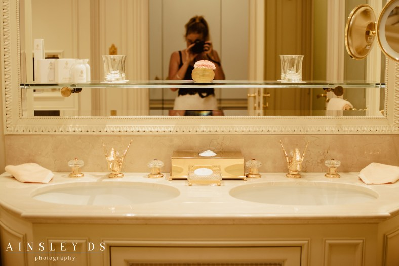 Golden Bathroom at the Ritz Paris. Blog and review.