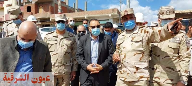 محافظ الشرقية يتفقد أعمال تنفيذ مبادرة حياه كريمة بقرية شهداء 2 بحر البقر بمركز الحسينية