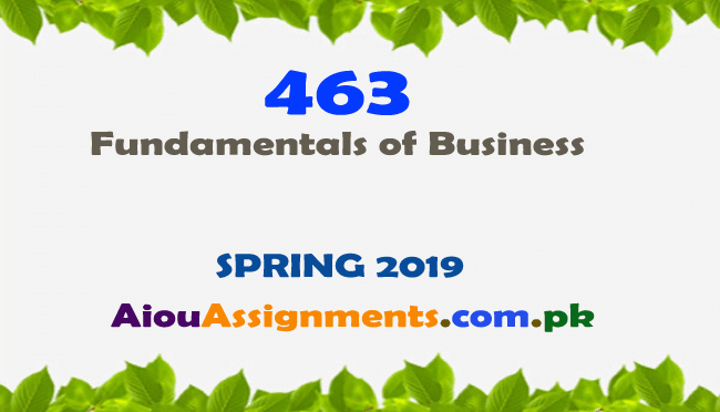 463 Solved Assignment Spring 2019 Fundamentals of Business | AiouAssiggnments.com.pk