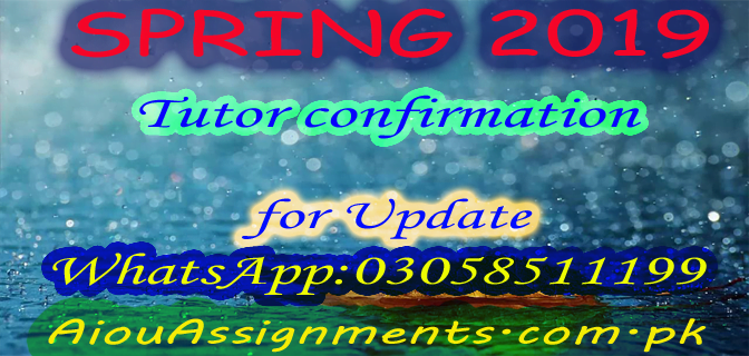 AIOU TUTOR CONFIRMATION SPRING 2019