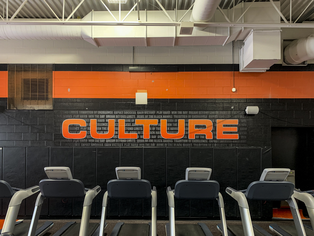 Grafton High School Fitness Center wall mural