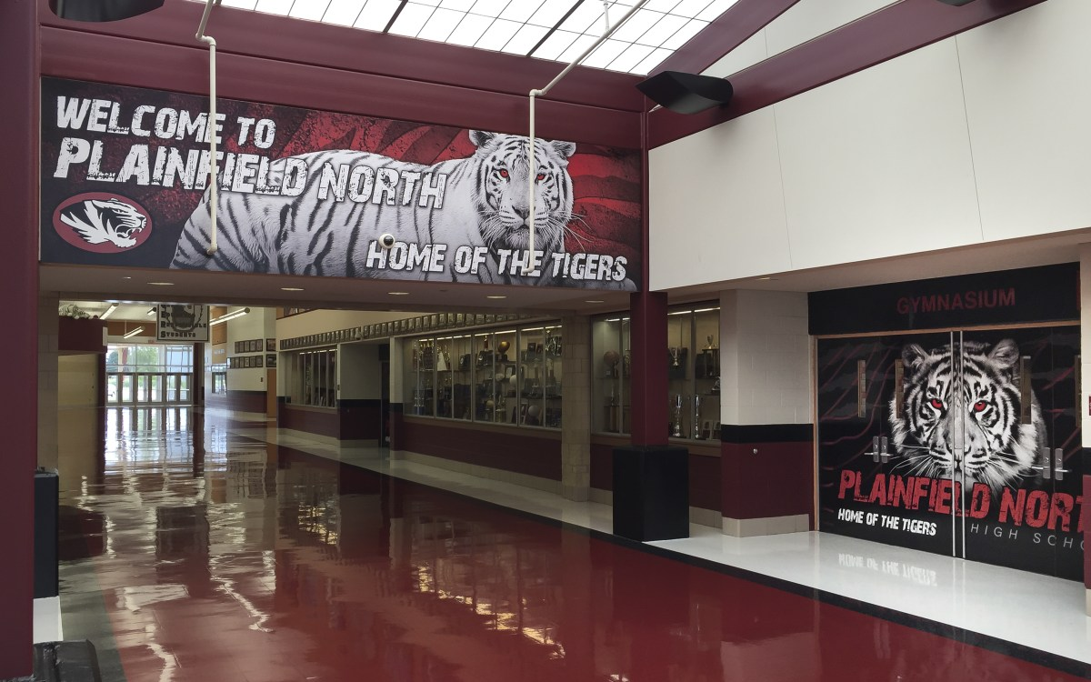 Plainfield North Hallway and Doors vinyl graphics