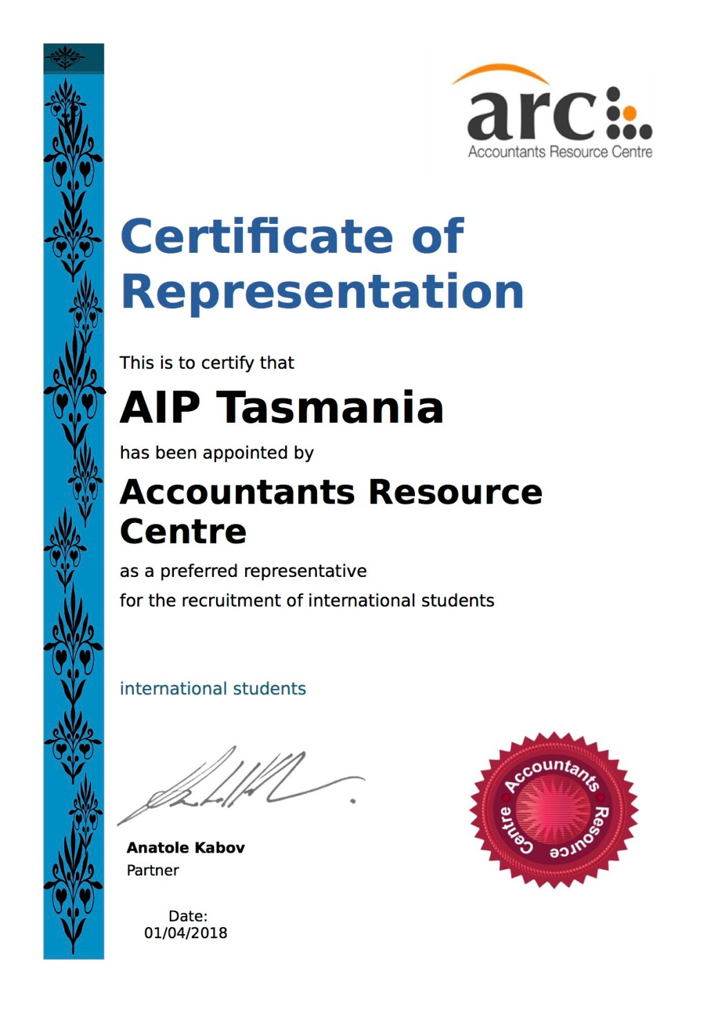 Certificate of representative AIP