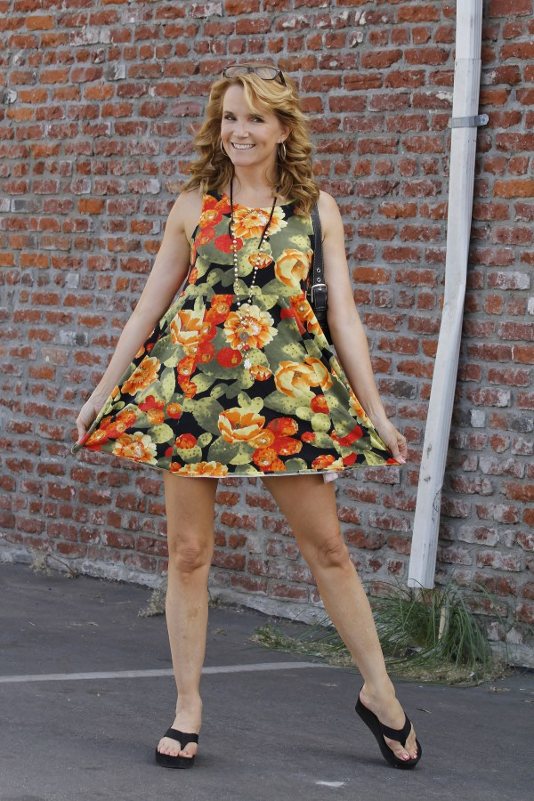 Lea Thompson suffers a spray tan malfunction whilst arriving at 'Dancing with the Stars - Season 19' rehearsals in Hollywood, California. Pictured: Lea Thompson Ref: SPL857630 031014 Picture by: Splash News Splash News and Pictures Los Angeles:310-821-2666 New York: 212-619-2666 London: 870-934-2666 photodesk@splashnews.com