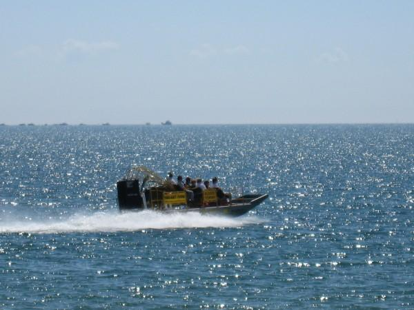 Turcs & Caicos Islands: larger airboats are used for inter-island transfers, as diving platforms, for fishing excursions or whale watching.