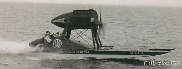 "Count Theo Rossi de Montalera on bord of his airboat ""Ardea"" in 1930"