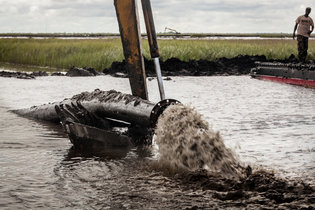 Sediment is being pumped near Lake Borgne to re-create wetlands.