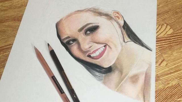色鉛筆画 『女性』