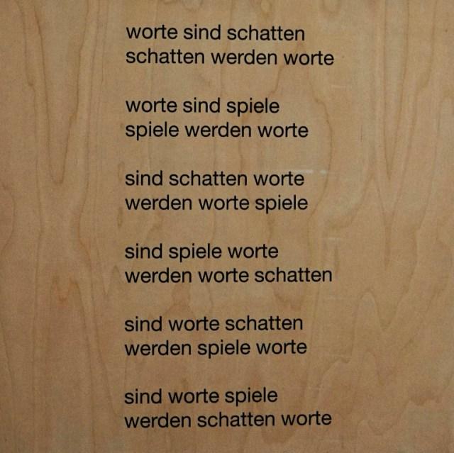 eugen gomringer - worte sind schatten - 70x70x8 cm - textdruck auf holz - jürgen blum - 1995
