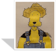 Airedale Terrier in a Straw Hat