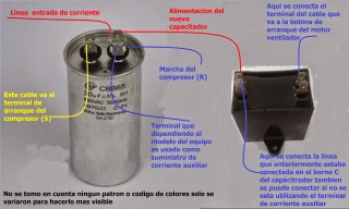 Como conectar capacitadores sencillos donde estaba uno doble