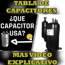 Tabla de capacitores para compresor rotativo