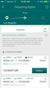 Cathay Pacific mobile booking