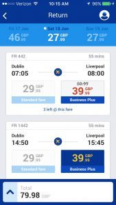Ryanair mobile app booking