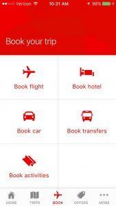 Qantas mobile menu