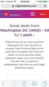 Virgin America mobile