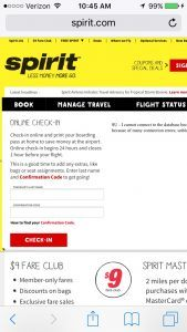 Spirit Airlines online check in
