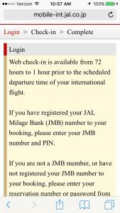 Japan Airlines mobile check in