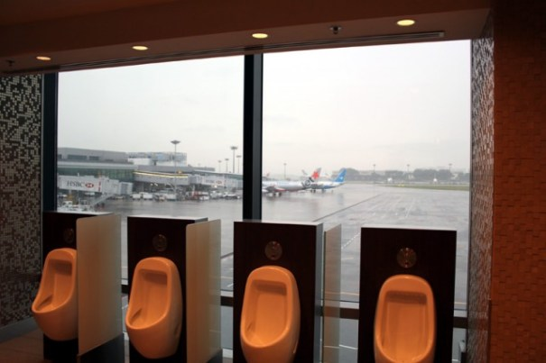 A fun view from the loo at the Singapore Changi Airport.