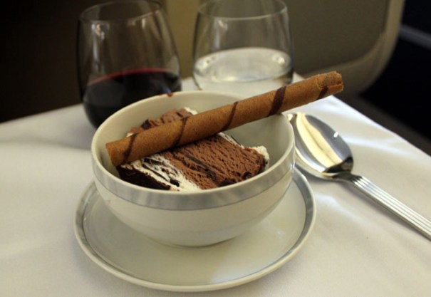 It never gets old having ice cream while flying -- especially when it is this fancy.