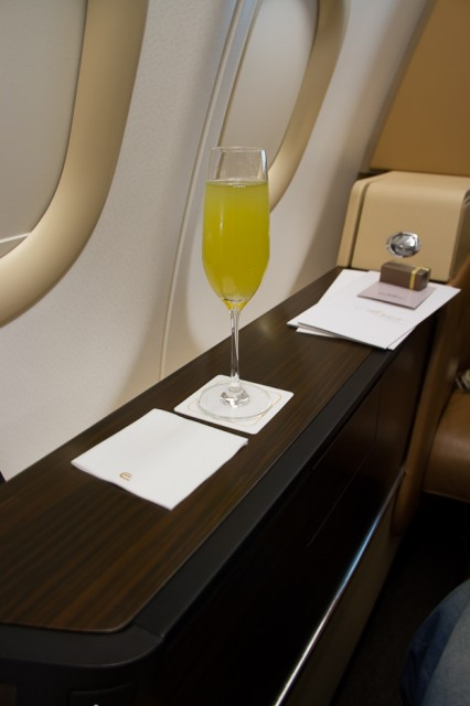 For flight departing Abu Dhabi, the choice of welcome drink is extended to include fresh lemon/mint juice as well as Arabic coffee with dates. Photo - Jacob Pfleger