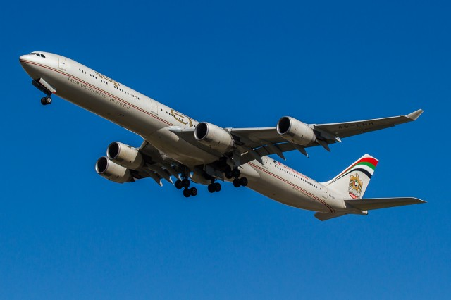Etihad Airbus A340-600 taking off - Photo: Jacob Pfleger