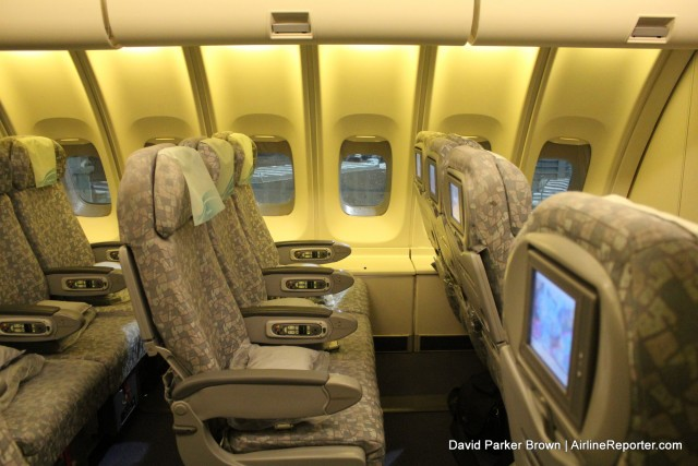 Riding On The Upper Deck Of An Eva Air Boeing 747 In