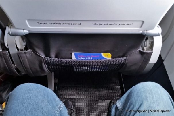 "Legroom on board a British Airways Airbus A320 in economy with mysteriously more than the listed 30"" pitch slimline seats."