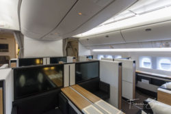 Swiss says that the giant video screens in first class are the largest in the industry.
