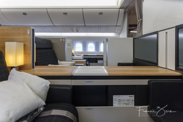 The view across the plane from first class is quite a bit more private than back in coach.