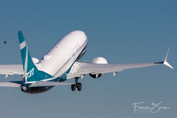 The new 737 MAX 7 departs from Renton on its first flight.
