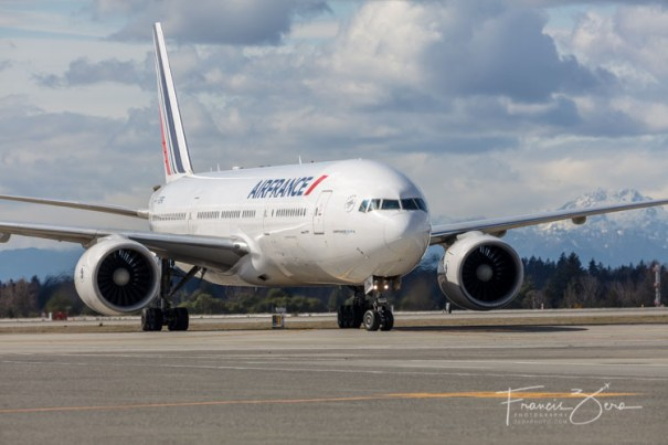 Air France flight 338 arrives at Sea-Tac Airport March 25