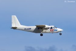 EZ Air flight 314 from CUR (Curacao) carried by PJ-EZR, a Britten-Norman BN-2A-26 Islander.