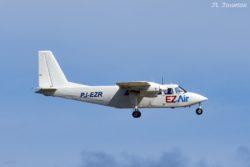 EZ Air flight 314 from CUR (Curacao) carried by PJ-EZR, a Britten-Norman BN-2A-26 Islander.
