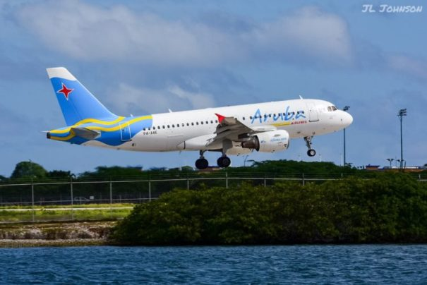Aruba Airlines A319 A4-AAE Lands at Oranjestad Queen Beatrix International Airport
