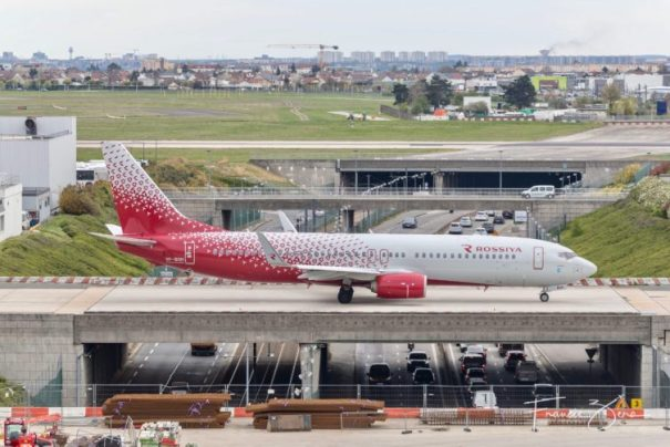 A Rossiya B-737 taxiing for departure as seen from ORY's excellent observation deck