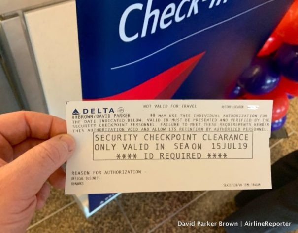 My cool Delta day pass for SEA.